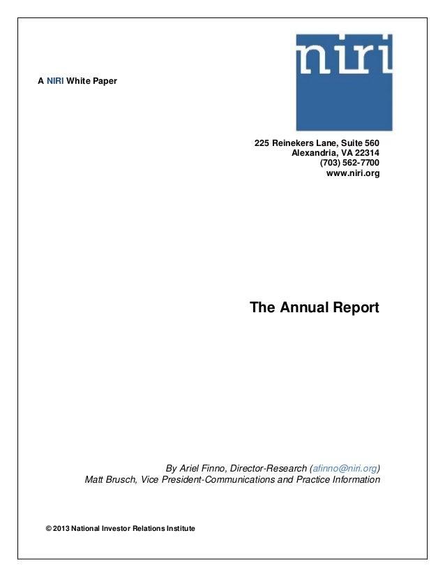 © 2013 National Investor Relations Institute 225 Reinekers Lane, Suite 560 Alexandria, VA 22314 (703) 562-7700 www.niri.or...