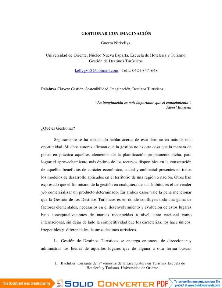 GESTIONAR CON IMAGINACIÓN                                      Guerra Nirkellys1    Universidad de Oriente, Núcleo Nueva E...