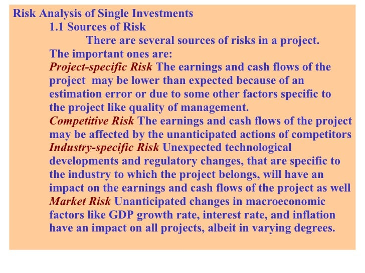 Risk Analysis of Single Investments 1.1 Sources of Risk There are several sources of risks in a project.  The important on...