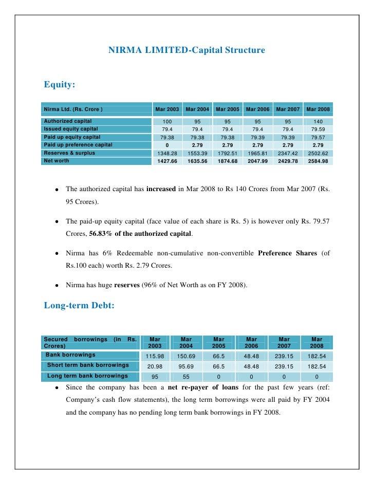 NIRMA LIMITED-Capital Structure   Equity:  Nirma Ltd. (Rs. Crore )                     Mar 2003    Mar 2004    Mar 2005   ...