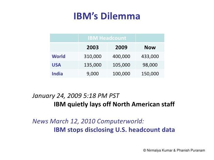 IBM's Dilemma                  IBM Headcount                  2003      2009      Now      World      310,000   400,000   ...