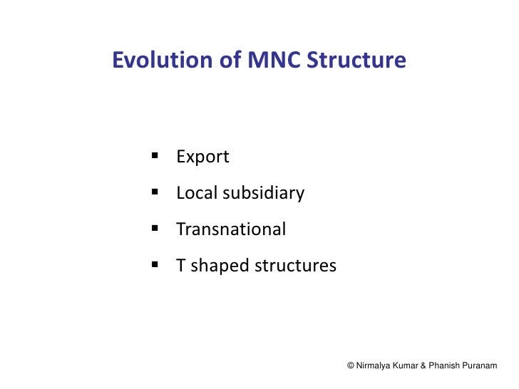 Evolution of MNC Structure    Export    Local subsidiary    Transnational    T shaped structures                      ...