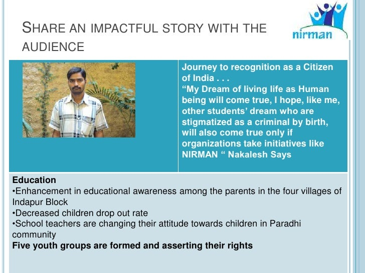 SHARE AN IMPACTFUL STORY WITH THE  AUDIENCE                                        Journey to recognition as a Citizen    ...