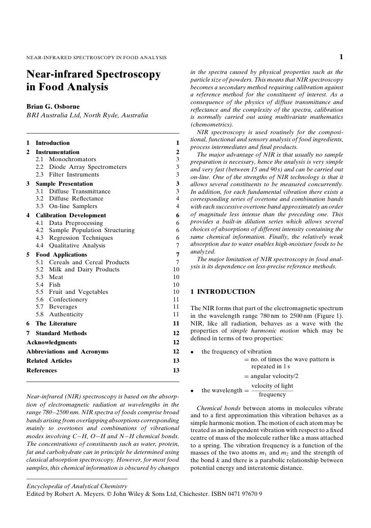 NEAR-INFRARED SPECTROSCOPY IN FOOD ANALYSIS                                                                            1  ...