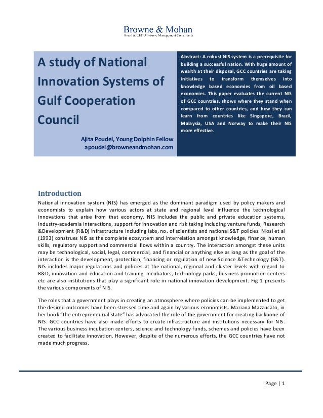 Page | 1 A study of National Innovation Systems of Gulf Cooperation Council Ajita Poudel, Young Dolphin Fellow apoudel@bro...