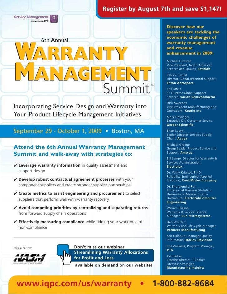6th  Annual Warranty Management Summit 2009