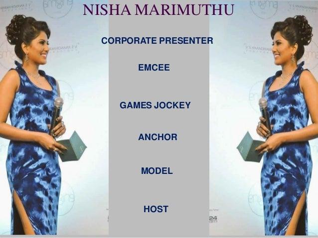 NISHA MARIMUTHU CORPORATE PRESENTER EMCEE GAMES JOCKEY ANCHOR MODEL HOST