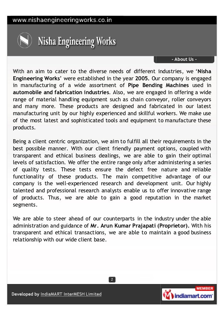 - About Us -With an aim to cater to the diverse needs of different industries, we 'NishaEngineering Works' were establishe...