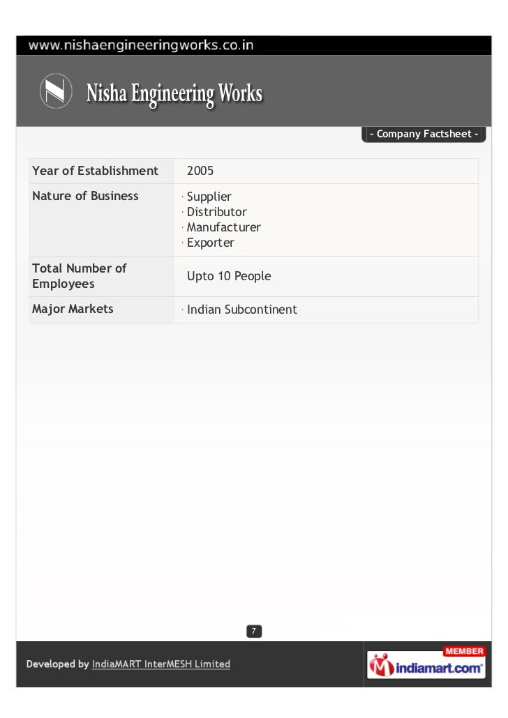 - Company Factsheet -Year of Establishment   2005Nature of Business      Supplier                        Distributor      ...