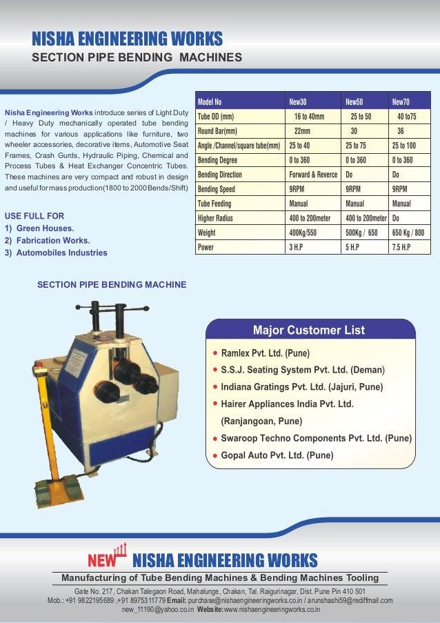 Nisha Engineering Works, Pune, Pipe Bending Machine Slide 2