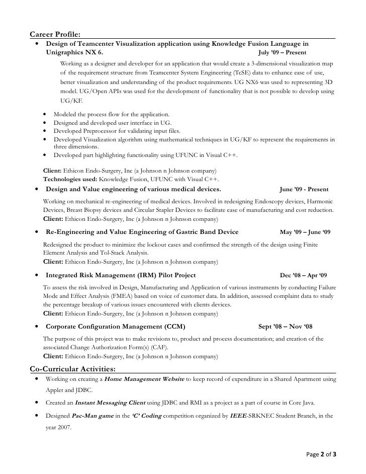 page 1 of 3 2 - Unigraphics Designer Resume