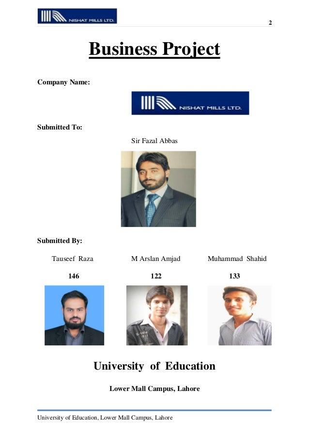 Business Project Report on Nishat Textile Mills Pakistan