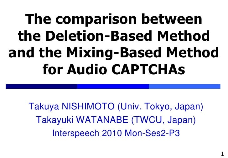 The comparison between  the Deletion-Based Method and the Mixing-Based Method      for Audio CAPTCHAs    Takuya NISHIMOTO ...