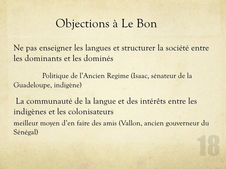 Objections à Le Bon Ne pas enseigner les langues et structurer la société entre les dominants et les dominés         Polit...
