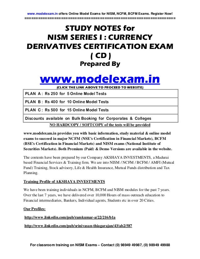 www.modelexam.in offers Online Model Exams for NISM, NCFM, BCFM Exams. Register Now!======================================...