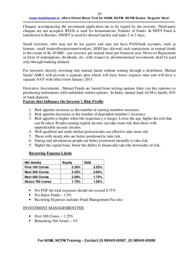 STUDY MATERIAL NOTES - NISM MUTUAL FUND EXAM - Issuu