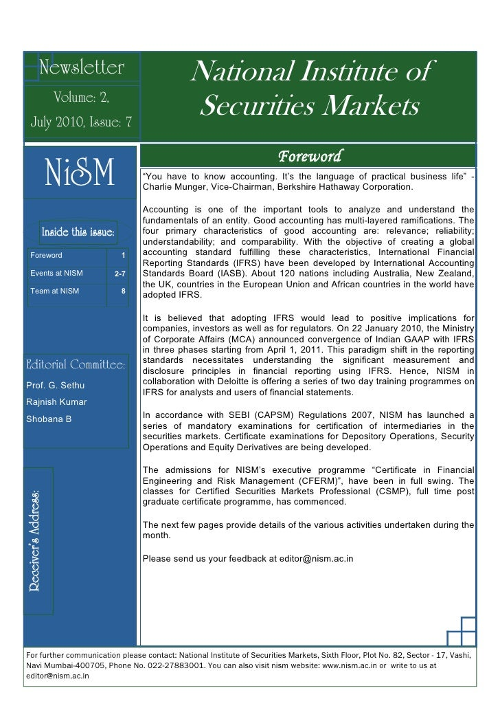 Newsletter                                National Institute of                       Volume: 2,    July 2010, Issue: 7   ...