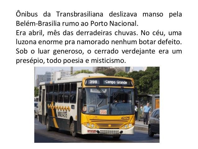 Ônibus da Transbrasiliana deslizava manso pela Belém-Brasilia rumo ao Porto Nacional. Era abril, mês das derradeiras chuva...