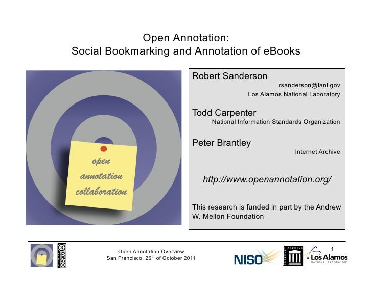 Open Annotation:Social Bookmarking and Annotation of eBooks                                       Robert Sanderson        ...