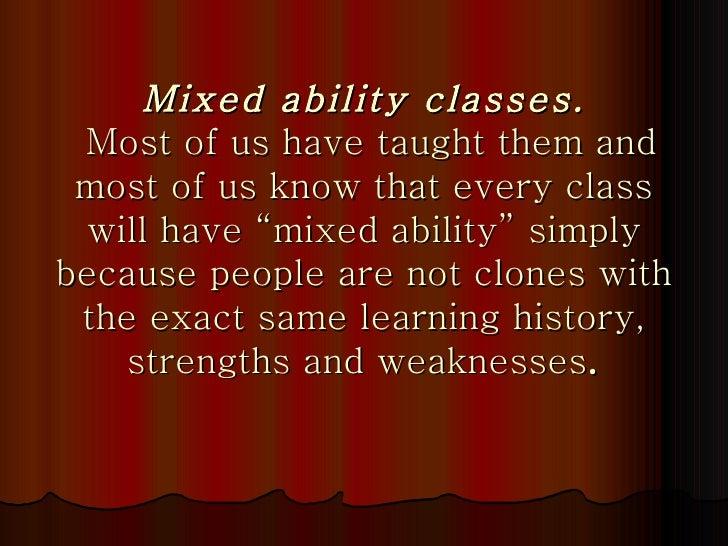 mixed ability classes advantages and disadvantages