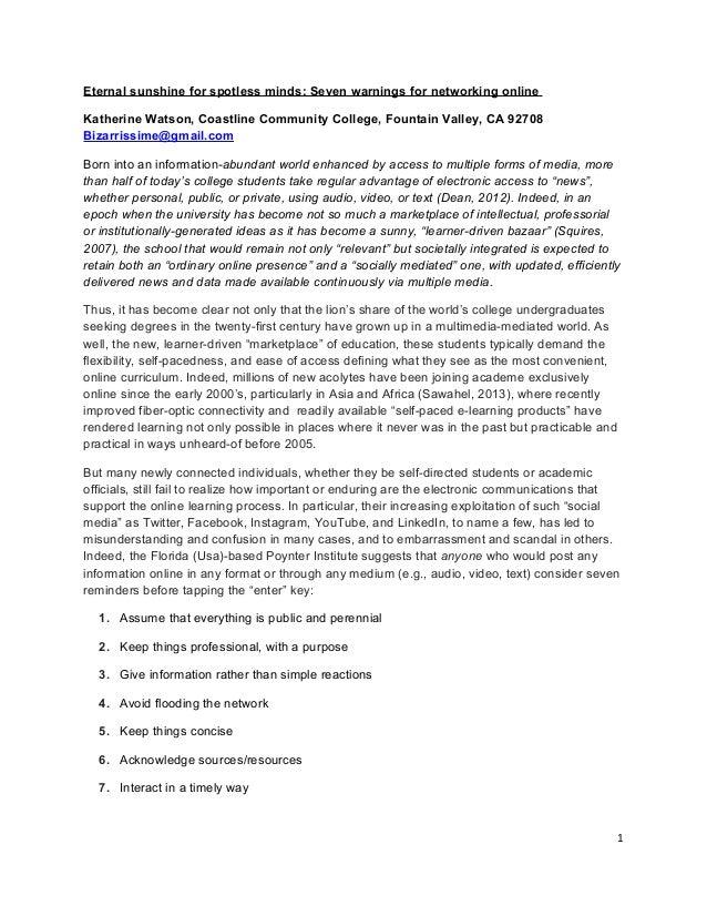 Eternal sunshine for spotless minds: Seven warnings for networking onlineKatherine Watson, Coastline Community College, Fo...