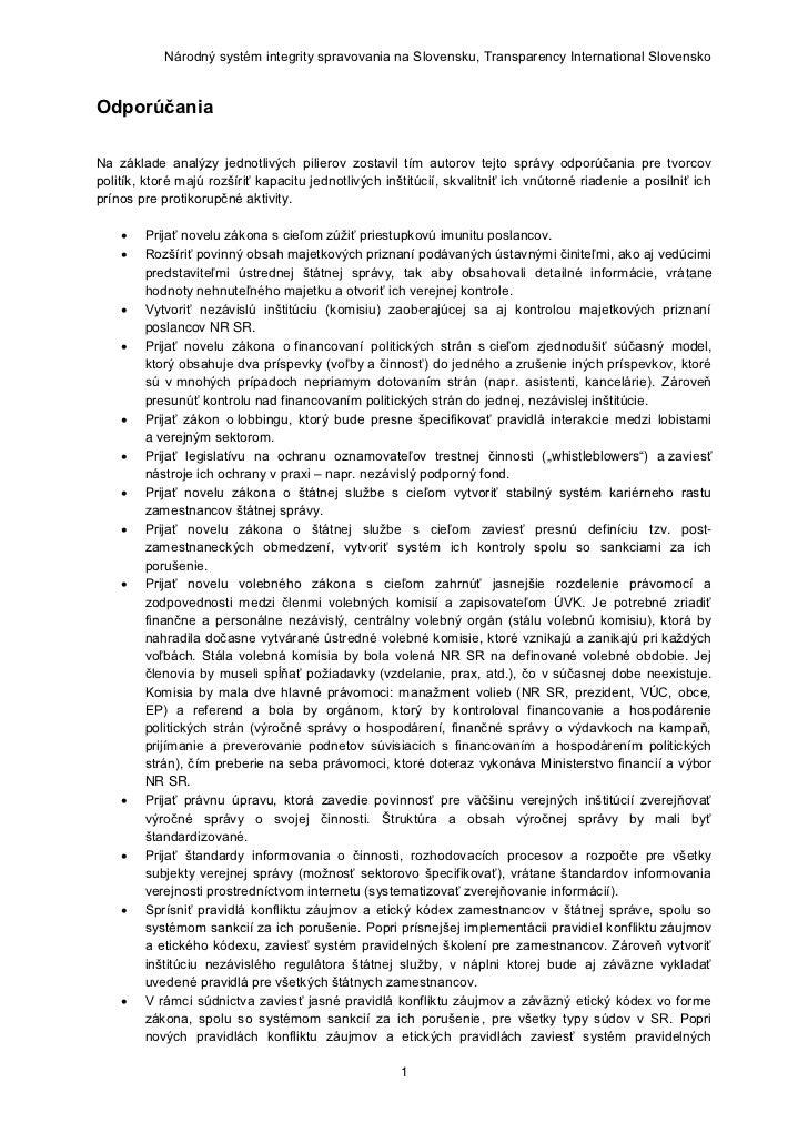 Národný systém integrity spravovania na Slovensku, Transparency International SlovenskoOdporúčaniaNa základe analýzy jedno...