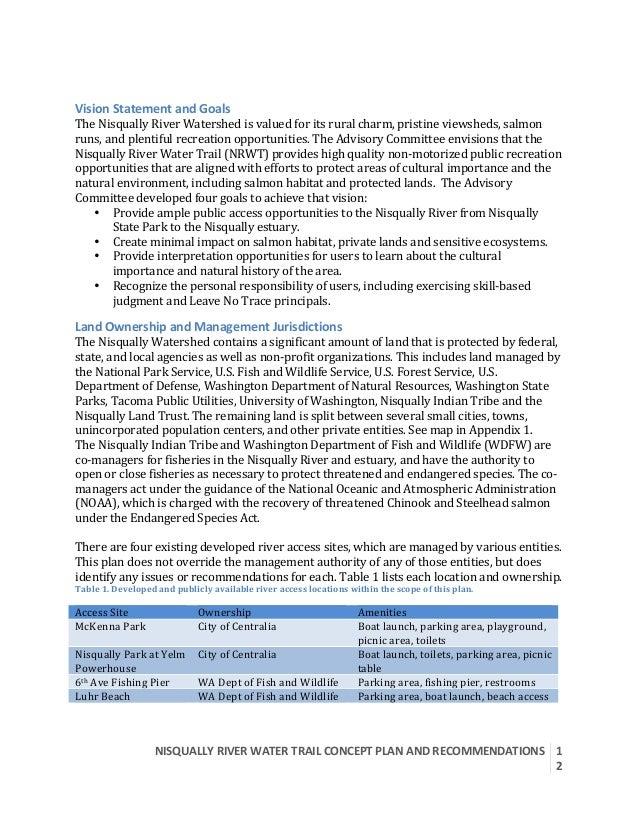 NISQUALLYRIVERWATERTRAILCONCEPTPLANANDRECOMMENDATIONS  1 2   VisionStatementandGoals TheNisquallyRiverW...