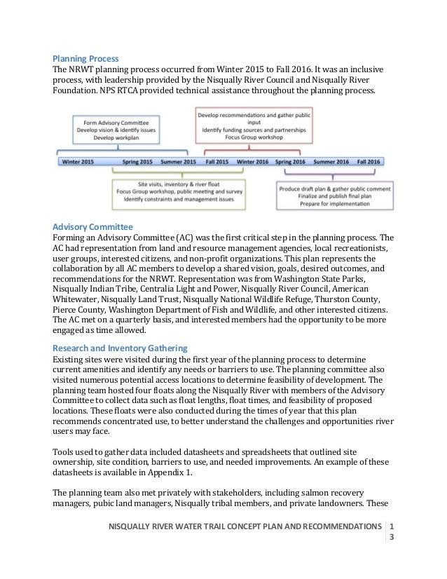 NISQUALLYRIVERWATERTRAILCONCEPTPLANANDRECOMMENDATIONS  1 3  PlanningProcess TheNRWTplanningprocessoccurre...