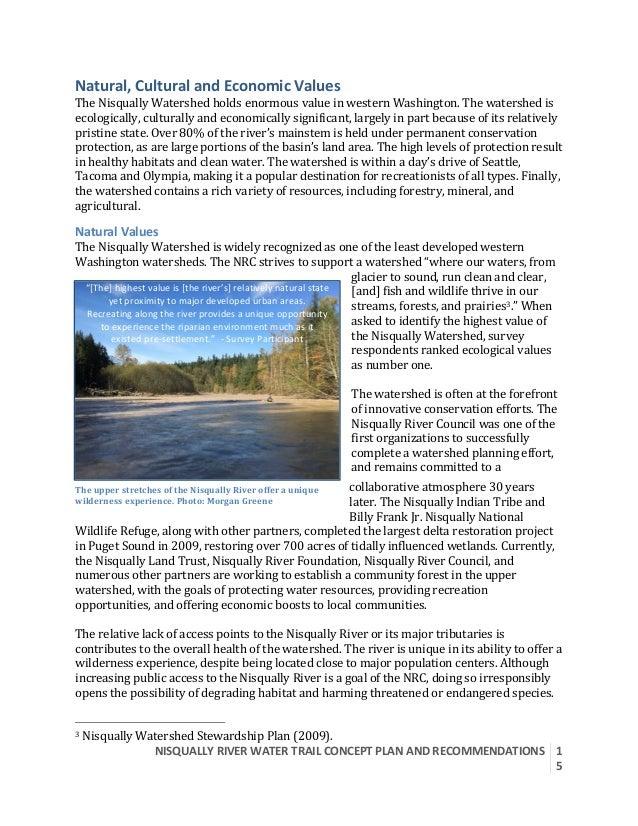 NISQUALLYRIVERWATERTRAILCONCEPTPLANANDRECOMMENDATIONS  1 5  Natural,CulturalandEconomicValues TheNisquall...