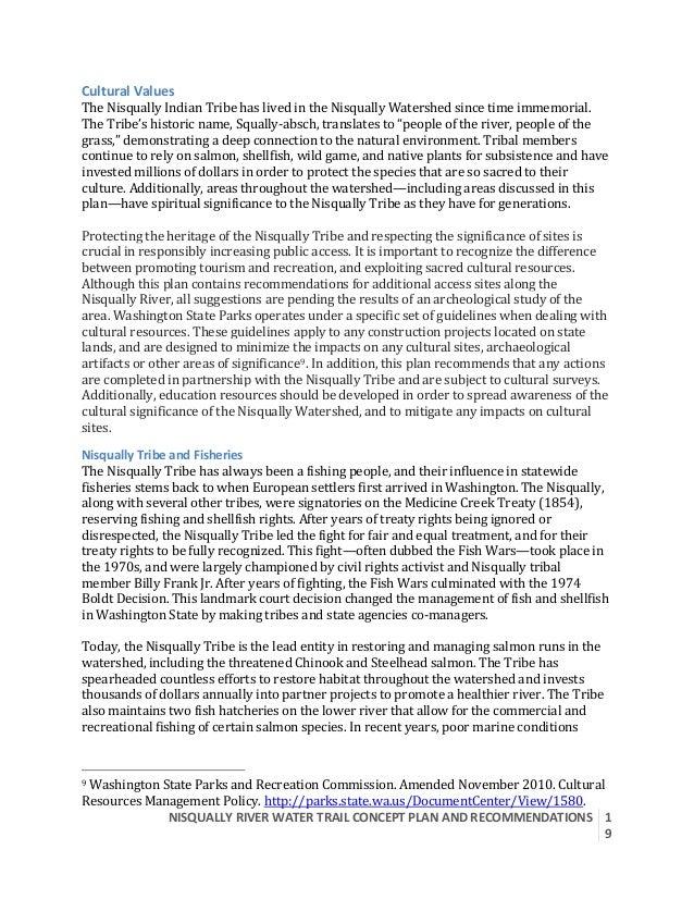 NISQUALLYRIVERWATERTRAILCONCEPTPLANANDRECOMMENDATIONS  1 9  CulturalValues TheNisquallyIndianTribehasliv...