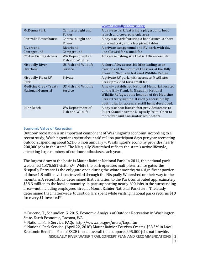 NISQUALLYRIVERWATERTRAILCONCEPTPLANANDRECOMMENDATIONS  2 2  www.nisquallylandtrust.org McKennaPark Centrali...