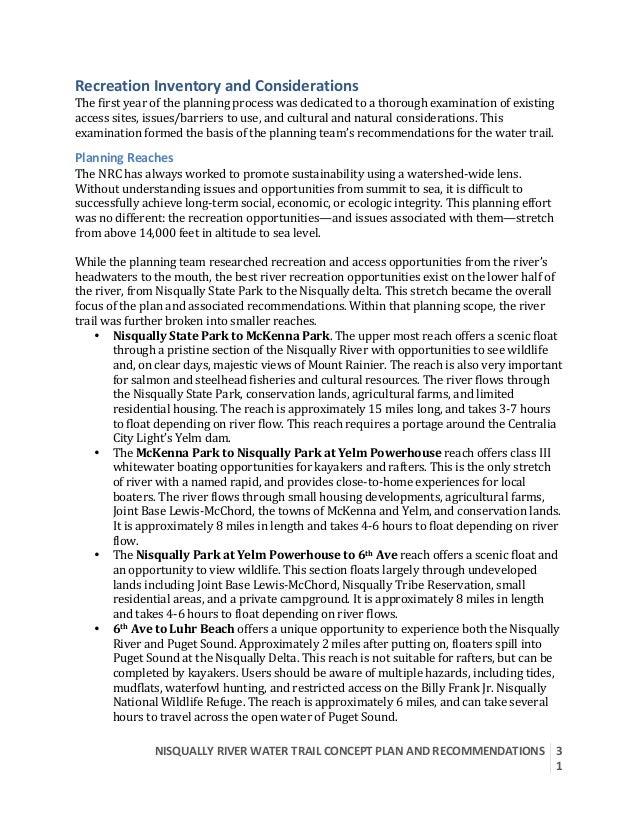 NISQUALLYRIVERWATERTRAILCONCEPTPLANANDRECOMMENDATIONS  3 1  RecreationInventoryandConsiderations Thefirst...