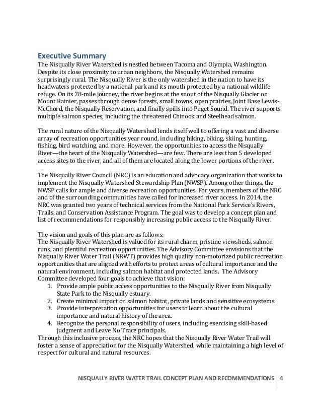 NISQUALLYRIVERWATERTRAILCONCEPTPLANANDRECOMMENDATIONS  4  ExecutiveSummary TheNisquallyRiverWatershedisn...