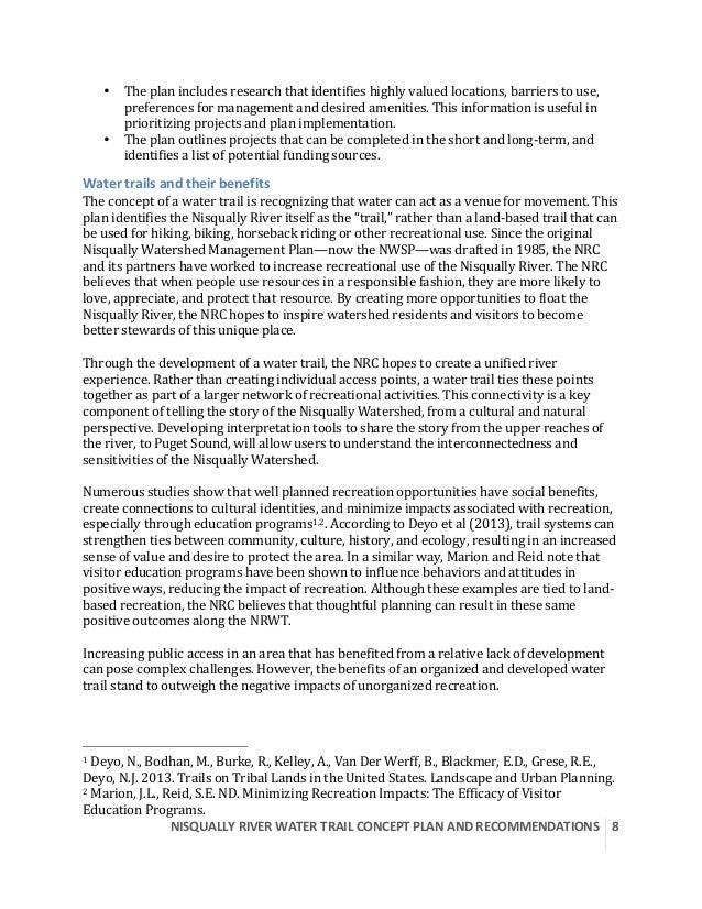 NISQUALLYRIVERWATERTRAILCONCEPTPLANANDRECOMMENDATIONS  8  • Theplanincludesresearchthatidentifieshighlyv...