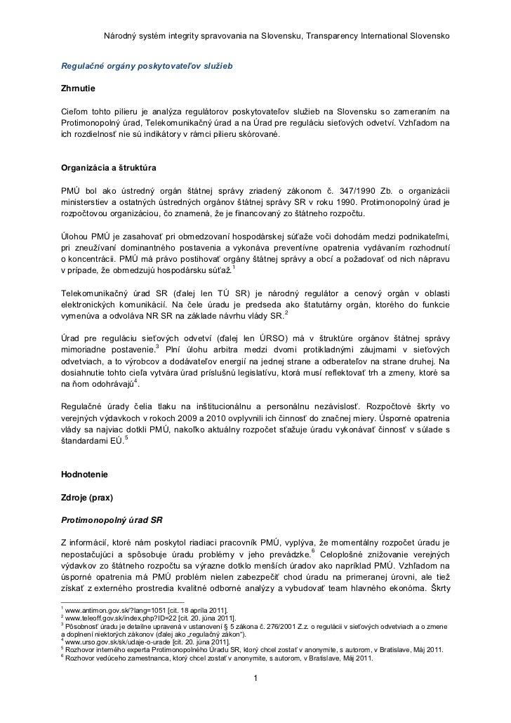 Národný systém integrity spravovania na Slovensku, Transparency International SlovenskoRegulačné orgány poskytovateľov slu...
