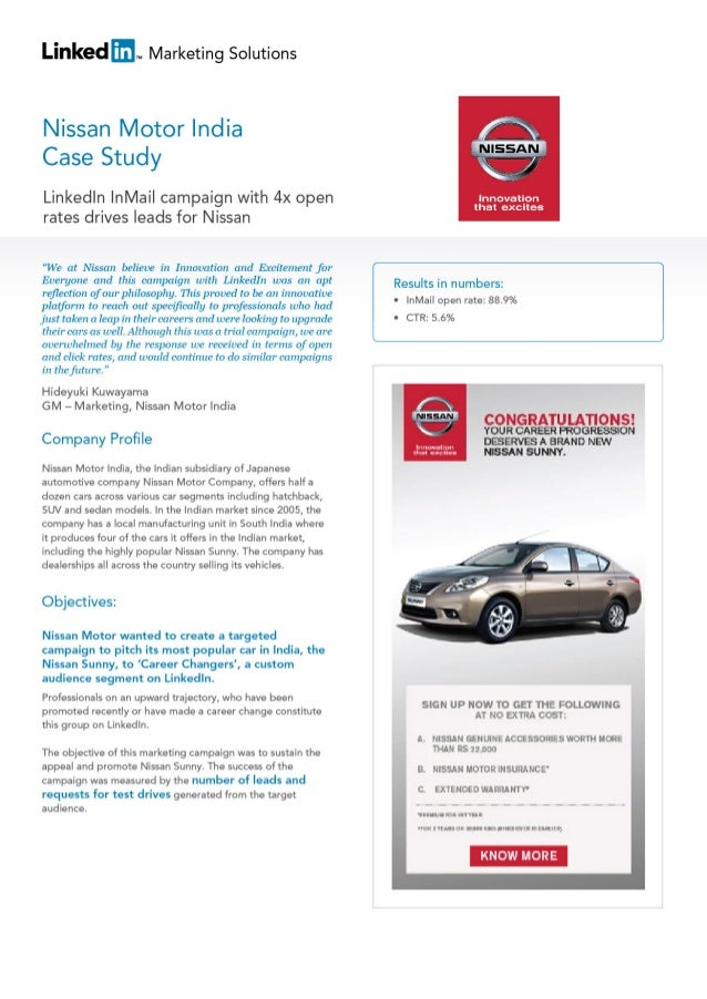 Linked Marketing Solutions  Nissan Motor India Case Study  Linkedln | nMai|  campaign with 4x open rates drives leads for ...