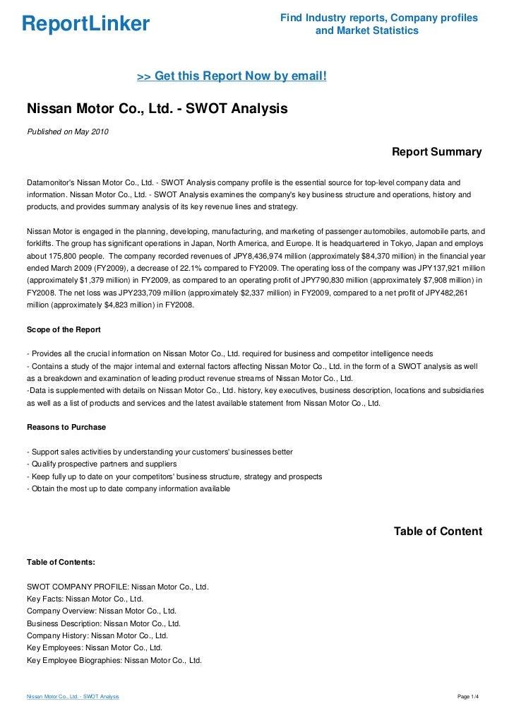 Nissan Swot Analysis