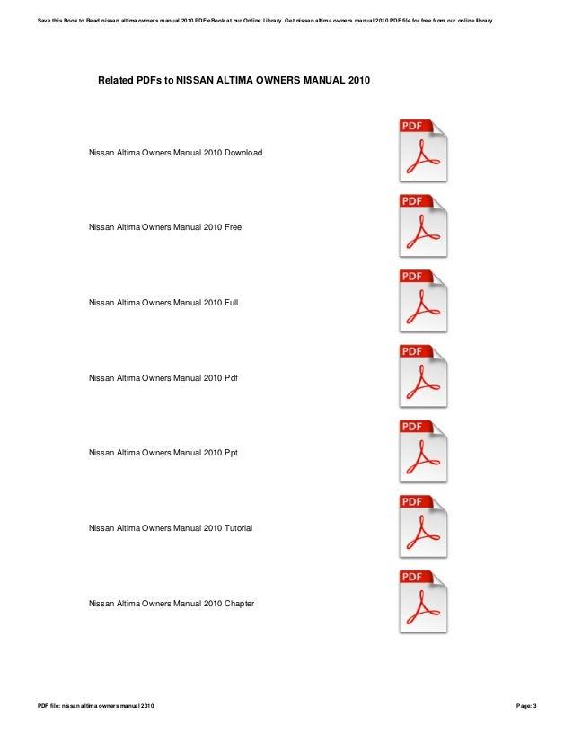 nissan altima owners manual 2010 rh slideshare net owners manual 2010 nissan frontier owners manual 2010 nissan sentra