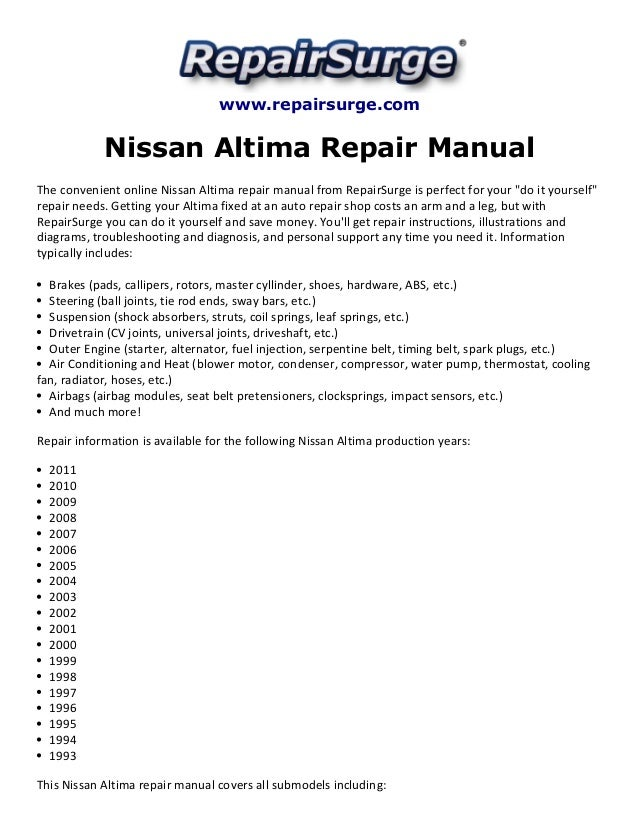 Nissan altima repair manual 1993 2011