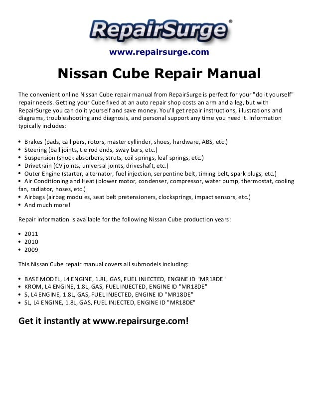 nissan cube repair manual 2009 2011 Nissan Gtr Engine Diagram