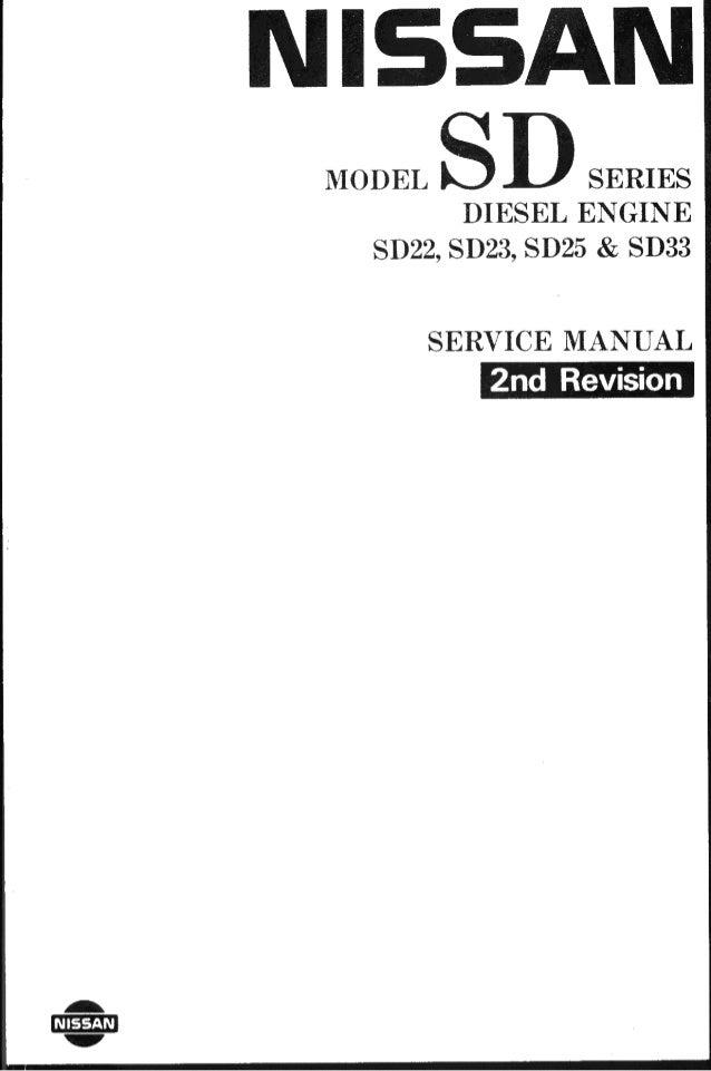 nissan diesel engines sd22 sd23 sd25 sd33 rh slideshare net nissan td series diesel engine service manual pdf nissan rf8 diesel engine service manual