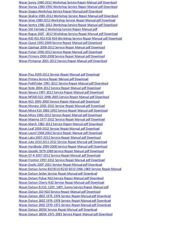 Nissan Leaf 2009 2012 Service Repair Manual Pdf Download