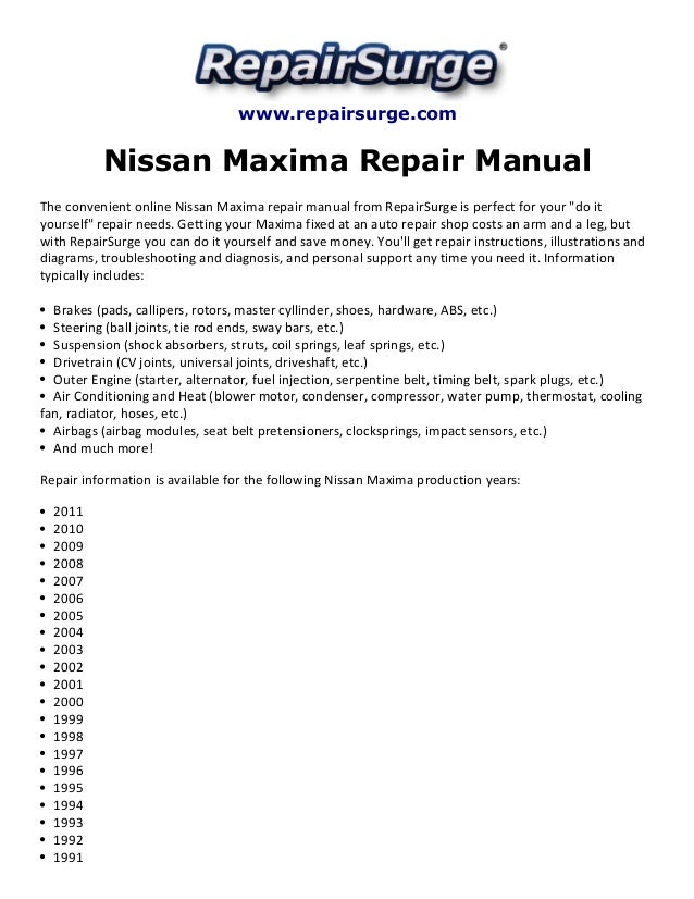nissan maxima repair manual 1990 2011 rh slideshare net 2008 Nissan Maxima Interior 2004 Nissan Maxima Turbo
