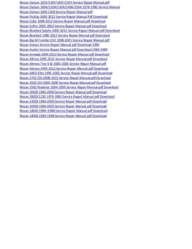 Nissan micra 1982 2012 service repair manual pdf download