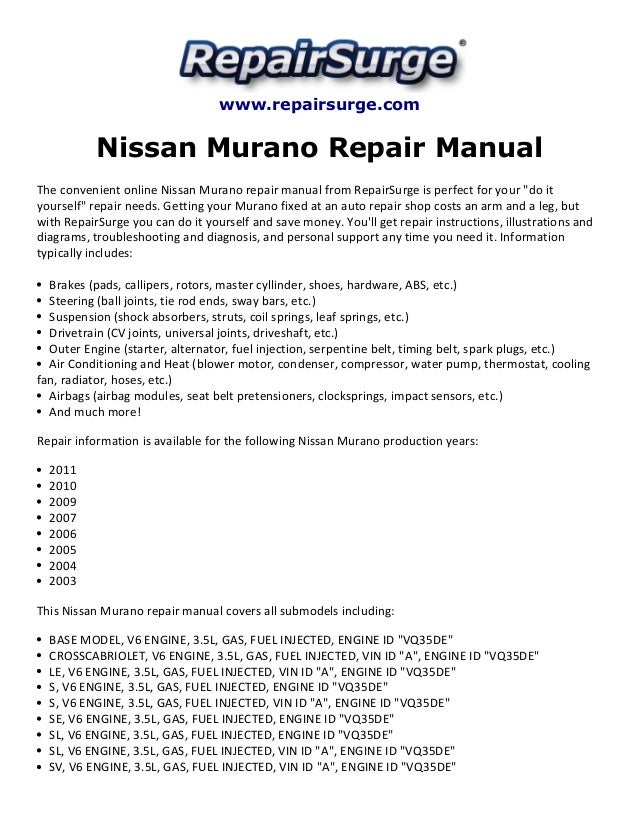 nissan murano repair manual 2003 2011 rh slideshare net nissan murano manual 2011 nissan murano manual hatch