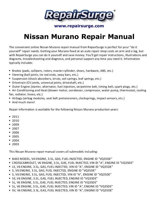 nissan murano repair manual 2003 2011 1 638?cb=1415653077 nissan murano repair manual 2003 2011 2009 nissan murano alternator wiring diagram at reclaimingppi.co