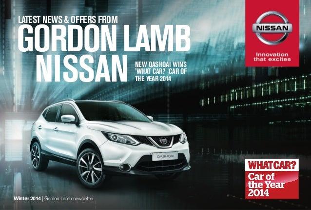 LATEST NEWS & OFFERS FROM  GORDON LAMB NISSAN NEW QASHQAI WINS 'WHAT CAR?' CAR OF THE YEAR 2014  Winter 2014   Gordon Lamb...