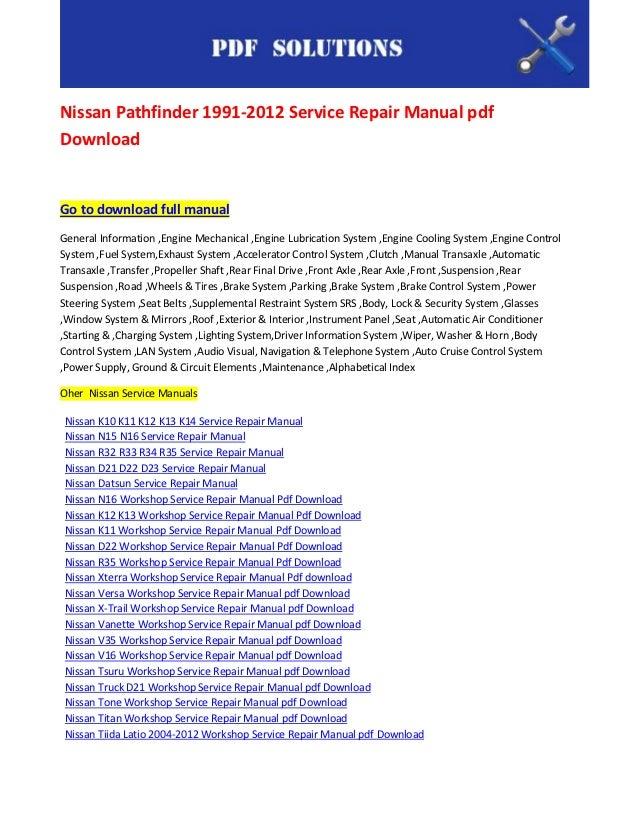 nissan pathfinder 1991 2012 service repair manual pdf download rh slideshare net nissan pathfinder 2002 service repair manual download Pathfinder Manual RG