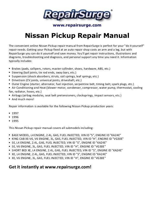 nissan pickup repair manual 1995 1997 rh slideshare net 95 nissan pickup manual transmission fluid 95 nissan pickup repair manual
