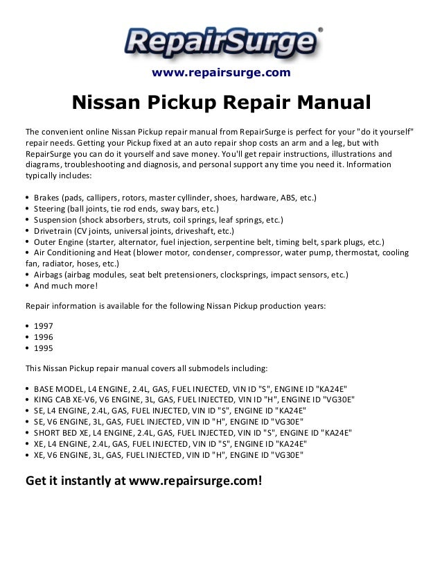 Nissan pickup repair manual 1995 1997SlideShare